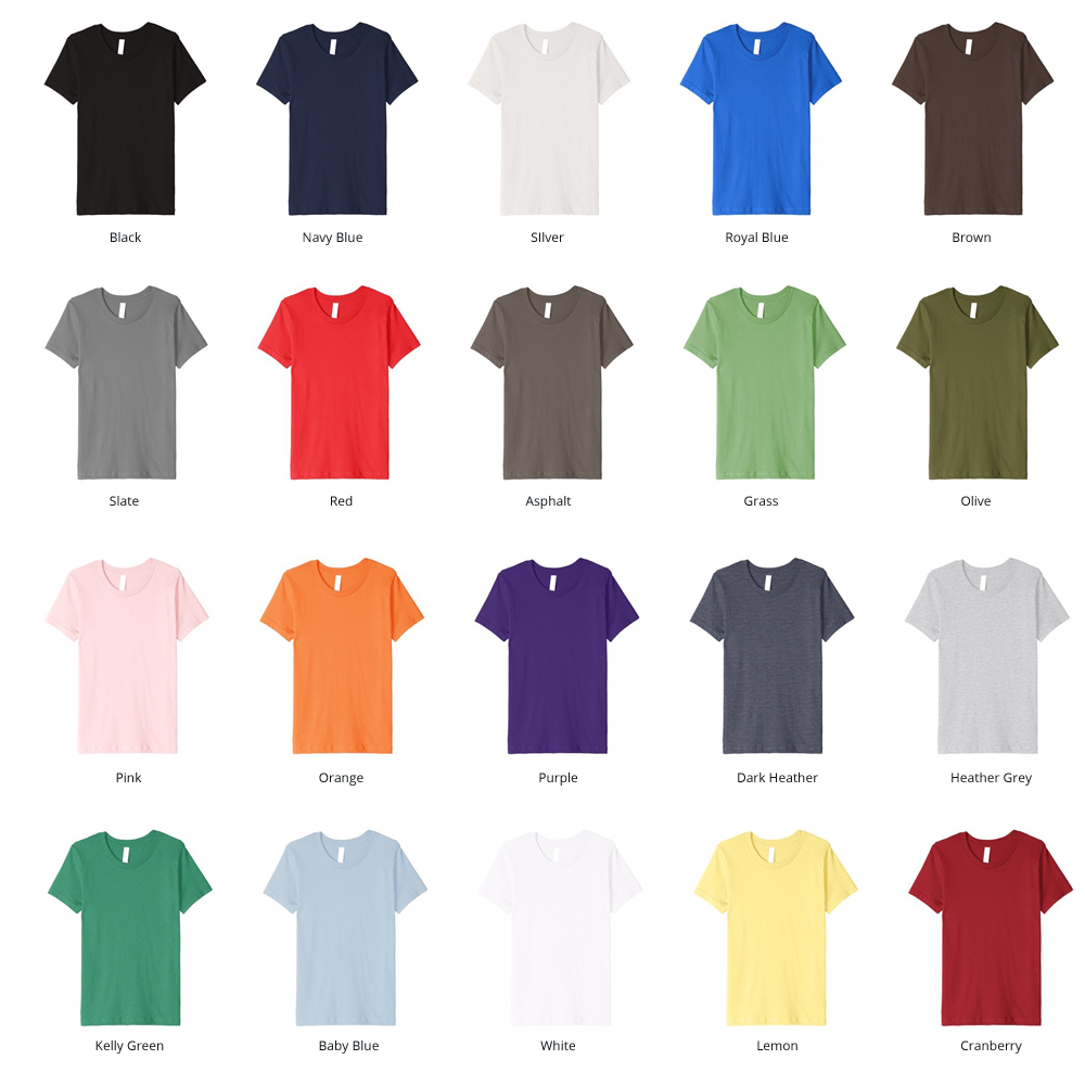 Image of our available Fitted Shirt Colors