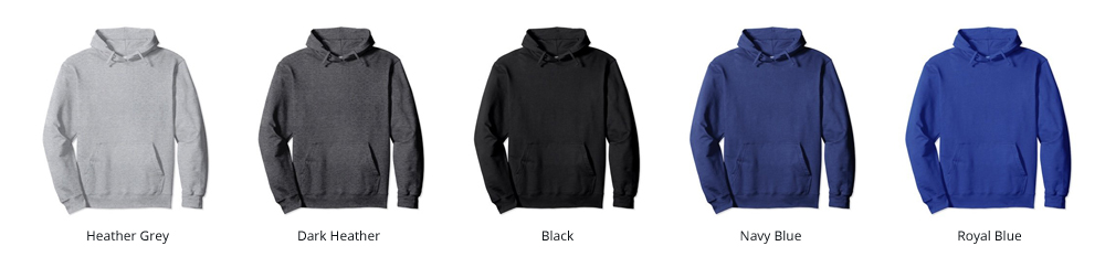 Image of our available Hoodie Colors