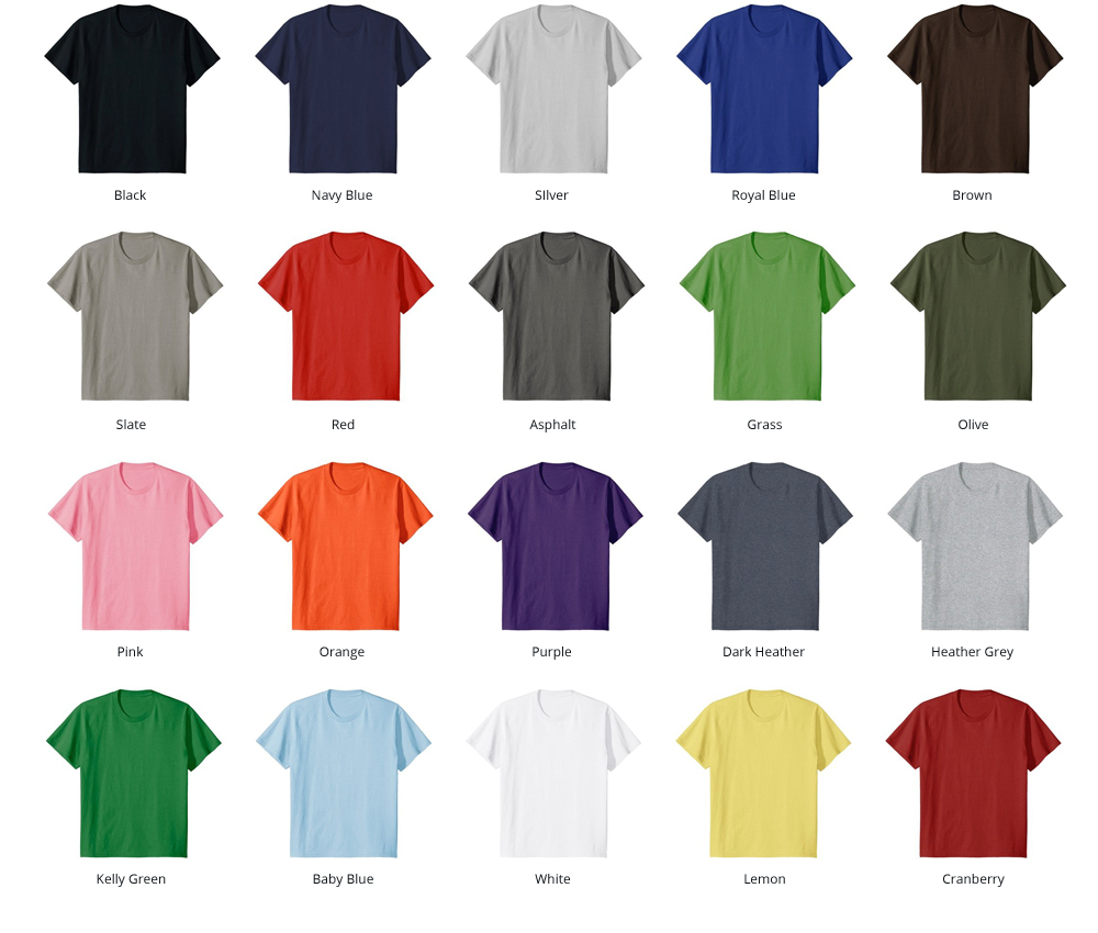 Image of our available Standard Shirt Colors
