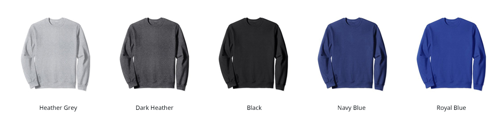 Image of our available Sweatshirt Colors